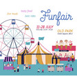 amusement park poster with circus ferris wheel vector image