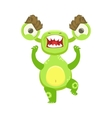 Angry Funny Monster Pissed Off Green Alien Emoji vector image vector image