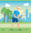 avatar man playing tennis vector image
