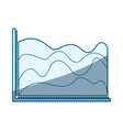 blue shading silhouette of statistic graphic in vector image vector image