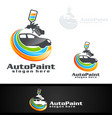 car painting logo with spray gun and sport car vector image vector image