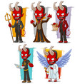 cartoon devils and evil angel character set vector image vector image