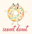 cartoon funny donut character vector image