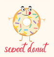 cartoon of funny donut character vector image vector image
