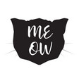 cat head black silhouette on white vector image vector image
