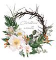 christmas card wreath flowers vector image