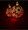 christmas red balls on a dark background vector image
