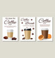 coffee posters realistic coffee take away vector image