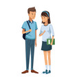 colorful couple students standing of boy with vector image