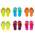 Colorful flip flop collection isolated on white vector image vector image