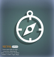 Compass icon On the blue-green abstract background vector image vector image