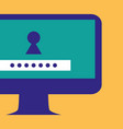 computer desktop with keyhole and password vector image vector image