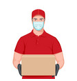 concept safe delivery with courier man vector image
