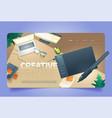 creative time cartoon landing graphic design work vector image vector image