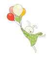 cute bunny flying on balloons vector image