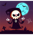 cute cartoon grim reaper with scythe poster vector image vector image
