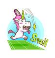 cute unicorn play tennis vector image vector image