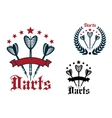 Darts game sporting icons and emblems vector image vector image