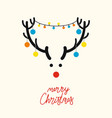 deer head with christmas tree toys vector image
