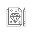 diamond sign sketch tattoo studio contract line vector image vector image