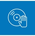 Disc with dj hand line icon vector image vector image