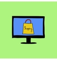 Doodle color online shopping sign vector image