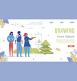 drawing from nature landing page template vector image