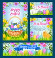 easter eggs in grass greeting banner template vector image vector image