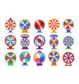 fortune wheels flat icons set spin lucky wheel vector image