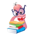 Funny bookworm reading stack of books vector image