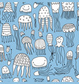 funny jellyfishes seamless pattern for your vector image vector image