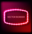 glowing neon frame with light bulbs on colorful vector image vector image