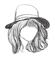 Hand drawn hair Girl in the hat vector image vector image