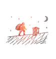 hand drawn santa claus going to chimney with gifts vector image