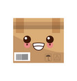 kawaii delivery cart boxes cargo logistic icon vector image vector image