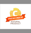 label of cheese with caption on red ribbon vector image vector image
