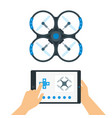 man controls a drone using a mobile application vector image vector image