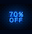 neon 70 off text banner night sign vector image vector image