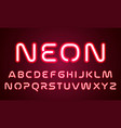 Neon light alphabet font letters red ultraviolet