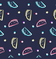 night party pattern with shiny tacos and stars vector image vector image