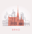outline brno skyline with landmarks vector image