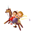 Profile of two girls riding a wooden unicorn vector image vector image