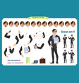 set of businessman character vector image vector image