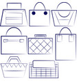 set of outlined woman handbags vector image vector image