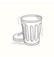 Sketched empty trash bin desktop icon vector image vector image