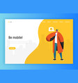 social network landing page template man character vector image