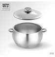 steel saucepan with glass lid on a transparent vector image vector image