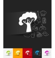 tree paper sticker with hand drawn elements vector image