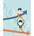Two aisan guy in two arrows going up and down vector image vector image