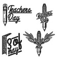 vintage teachers day emblems vector image vector image